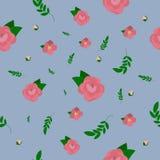 与牡丹的浪漫花卉无缝的样式 向量例证