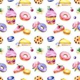 与牡丹花、叶子、多汁植物,鲜美杯形蛋糕、蝴蝶花花、蛋白杏仁饼干、油炸圈饼、曲奇饼、柠檬和樱桃che的无缝的样式 免版税库存照片