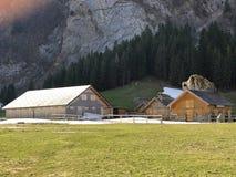 与牧场的农村传统建筑学在Appenzellerland地区和Alpstein山脉的 免版税库存图片