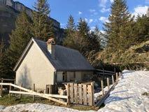 与牧场的农村传统建筑学在Appenzellerland地区和Alpstein山脉的 免版税图库摄影