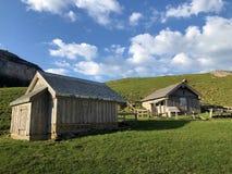与牧场的农村传统建筑学在Appenzellerland地区和Alpstein山脉的 库存照片