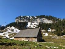 与牧场的农村传统建筑学在Appenzellerland地区和Alpstein山脉的 库存图片