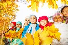 与犁耙和黄色叶子的许多微笑的孩子 免版税库存照片