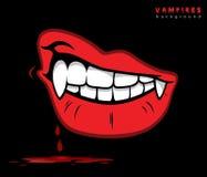 与犬齿的吸血鬼嘴唇 免版税图库摄影