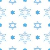 与犹太大卫王之星的传染媒介无缝的样式 向量例证