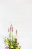 与狂放的五颜六色的花的白色背景,空 免版税库存照片