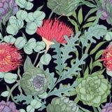 与狂放的开花的用于floristry手拉的花和草本的浪漫无缝的样式在黑背景 库存图片