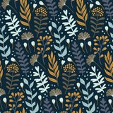 与狂放的花卉元素的现代无缝的样式 拉长的花现有量 库存例证