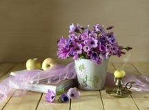 与狂放的银莲花属的静物画 库存图片