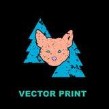 与狐狸的现代印刷品在森林 库存图片