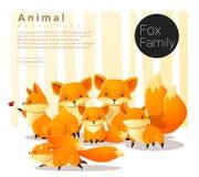 与狐狸的逗人喜爱的动物家庭背景 皇族释放例证