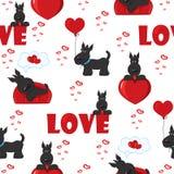 与狗和心脏的逗人喜爱的背景为情人节,无缝的样式 免版税库存图片