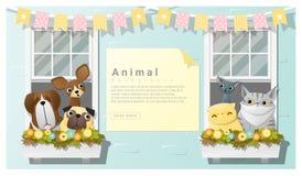 与狗和猫的逗人喜爱的动物家庭背景 向量例证