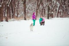 与狗爱斯基摩的家庭 图库摄影