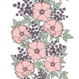 与狗玫瑰、莓果和叶子的无缝的花构成 免版税库存图片
