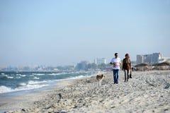 与狗的两个人步行 免版税图库摄影
