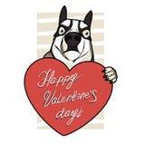 与狗的华伦泰卡片和红色心脏和消息愉快的华伦泰` s天 库存图片