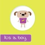 与狗的婴儿送礼会卡片。它男孩 库存图片
