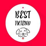 与狗的头的贴纸和字法发短信给最好的朋友 向量 免版税库存照片