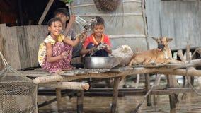 与狗,洞里萨湖,柬埔寨的孩子 库存图片