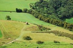 与狩猎风雨棚的绿色风景 免版税库存照片