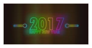 与独特的轻的霓虹作用的新年快乐2017年 免版税库存照片