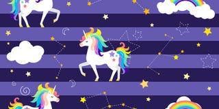 与独角兽、彩虹、星座和其他元素的传染媒介背景 皇族释放例证