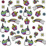 与独角兽、杯形蛋糕、彩虹和花的明亮的无缝的样式 向量例证