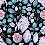 与独角兽和玫瑰色小插图的水彩设计 图库摄影