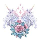 与独角兽和玫瑰色小插图的水彩设计 免版税库存图片