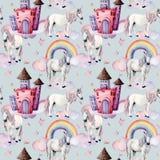 与独角兽和童话装饰的水彩样式 手画不可思议的马,城堡,彩虹,云彩,星 皇族释放例证