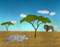 与狮子和白色孟加拉老虎的非洲徒步旅行队 免版税库存照片