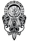 与狮子的纹身花刺设计 库存图片