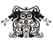 与狮子的风格化对称的装饰图案 库存图片