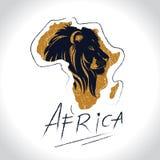 与狮子2的非洲和徒步旅行队商标 库存例证