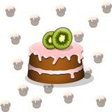 与猕猴桃的动画片蛋糕 库存照片