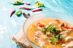 与猪排的热和辣汤在木背景 免版税图库摄影