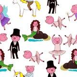 与猪的动画片无缝的样式 免版税库存照片
