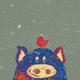 与猪的圣诞节明信片 免版税库存图片