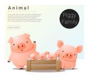 与猪的逗人喜爱的动物家庭背景 库存例证