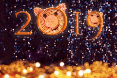 与猪的面孔的题字2019年,2019年的标志在反对美好的bokeh的中国占星从光 库存照片