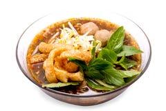 与猪肉球的泰国food.noodle汤。 免版税库存照片