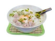 与猪肉球,裁减路线的米粥 免版税库存图片