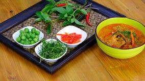 与猪肉盘的泰国Paneang咖喱 图库摄影