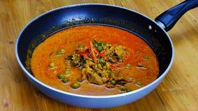 与猪肉盘的泰国Paneang咖喱 库存照片
