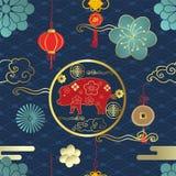 与猪,云彩,在纸被削减的艺术a的纸的中国无缝的样式 皇族释放例证