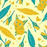 与猫、花和心脏的无缝的样式 免版税库存图片