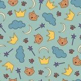 与猫和冠的夜题材无缝的背景 免版税库存照片