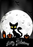 与猫和南瓜的万圣夜背景在满月 免版税图库摄影