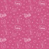 与猫和浪漫元素,情人节概念的手拉的无缝的传染媒介样式 免版税库存照片